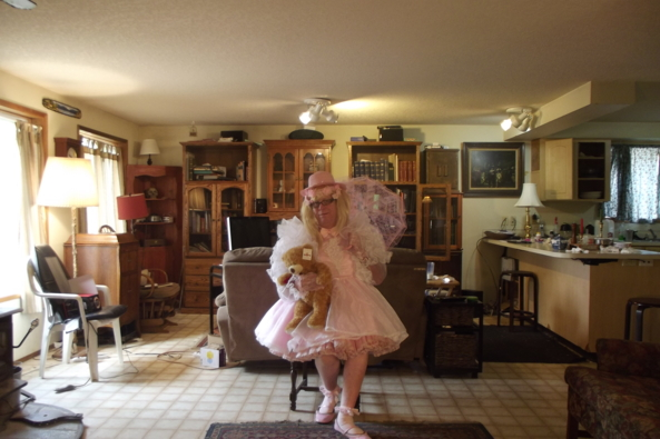 sitting pretty? - Teddy! hold still!, sissy,crossdress,pink,, Feminization,Dolled Up,Sissy Fashion