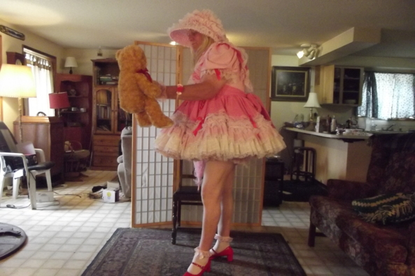 standing for teddy - my pretty pink cotton dress, sissy,LG,crossdress, Feminization,Sissy Fashion,Dolled Up