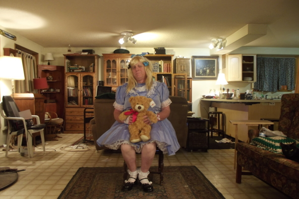 Lounging around with Teddy - one of my least frilly dresses, sissy,crossdress, Feminization,Sissy Fashion