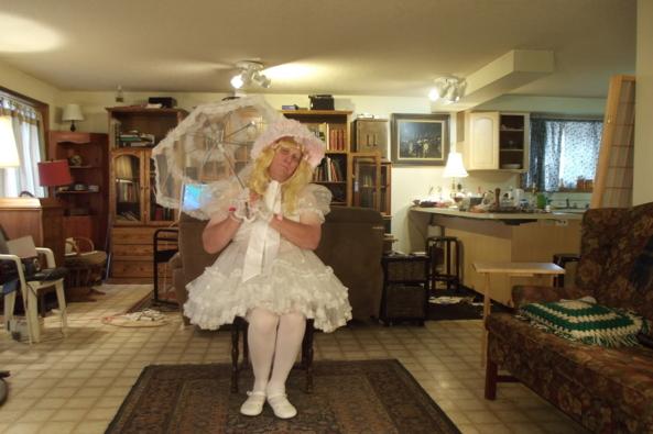 Sunday Finest - Me in a sheer Communion Dress, sissy,crossdress,, Feminization,Sissy Fashion,Wedding,Holiday,Dolled Up
