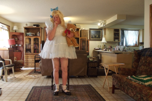 Singin the Blues - a Teddy and pretty dress can be a comfort, sissy,crossdress,, Adult Babies,Feminization,Sissy Fashion