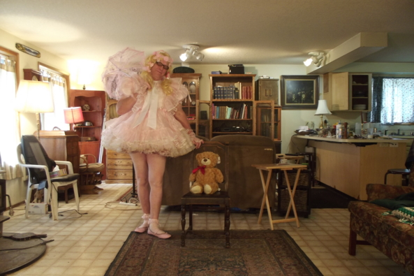 Posing with Teddy - a lazy morning, sissy,party dress,, Feminization,Holiday,Dolled Up,Sissy Fashion