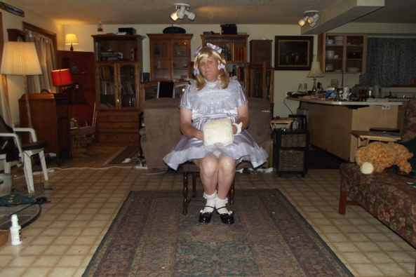 my lavender LG dress - this is a flash pic due to the dark it makes me look gaunt , sissy,crossdress,LG,, Sissy Fashion