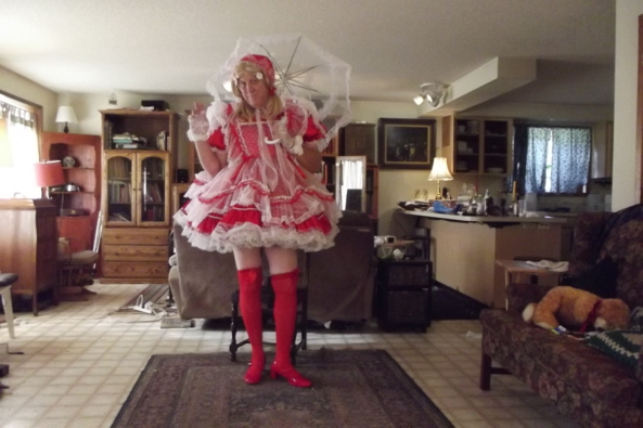 Better Red then....welll..... - just me in a frilly dress, sissy,crossdress, Feminization,Dolled Up,Holiday