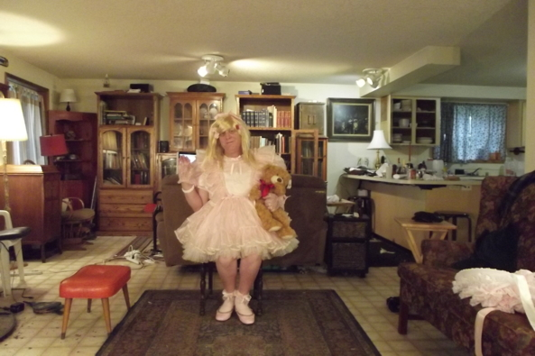 Teddy is back! - Just me in my favorite prissy dress, sissy,prissy,crossdress,, Feminization,Dolled Up,Sissy Fashion