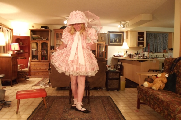 Teddy:  Is my hem straight? - just little me, sissy,crossdress,, Feminization,Sissy Fashion,Dolled Up
