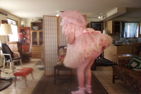 my most prissy dress - I think Pink suits.  does it?, sissy,crossdress,, Feminization,Dolled Up,Holiday,Sissy Fashion