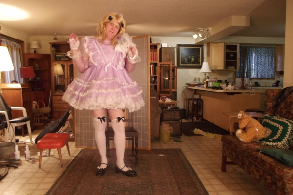 me in Lavender.. with teddy - Nothing special, sissy,crossdress, Feminization,Dolled Up,Sissy Fashion