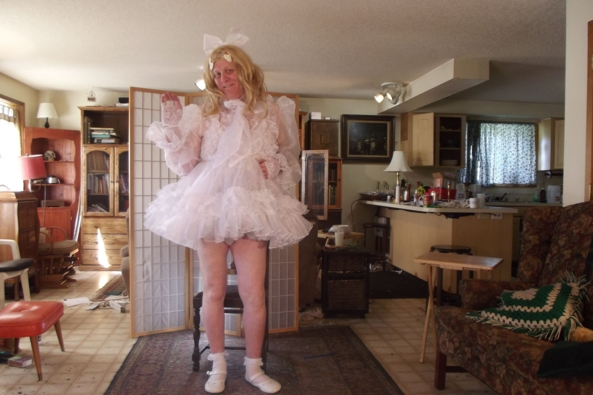 this dress is a shortie... - Frilly in White, sissy,crossdress,, Feminization,Dolled Up,Sissy Fashion,Wedding