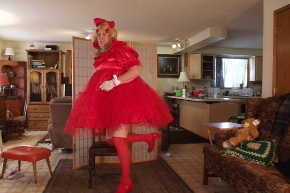 Better Red then.... - my more adult red A-line dress, sissy,crossdress,, Feminization,Sissy Fashion,Dolled Up