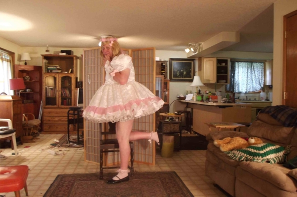 Simple in Satin - stormy out so being prissy in the house, Sissy,Crossdress,, Feminization,Dolled Up,Sissy Fashion