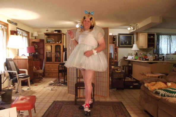 Boyish Baby Blue - Well....Blue at least.  I feel, I like to say: Liberated when I dress-up.  I think we all do to some degree.  I discuss that some in the Youtube vid I did of this dress.  , sissy,crossdress,, Thumb Sucking,Feminization,Sissy Fashion