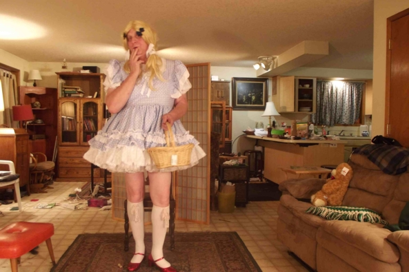 Dear Auntie Em:  Hate you, Hate Kansas, took the Dog.   - the USPS Fairy (or was it Gelinda?)  brought me a new dress!, sissy,crossdress, Feminization,Fairytale,Sissy Fashion,Dolled Up