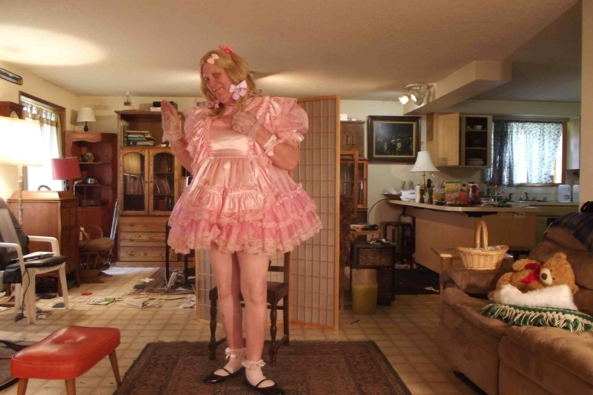 pink with fussy frills - I feel so well, special...when dressed., sissy,crossdress, Feminization,Dolled Up,Sissy Fashion