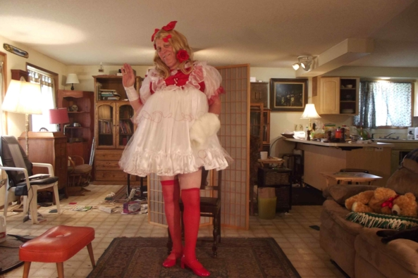 Christmas in April - this is my Christmas Dress.  Normally I only wear this around Yule  but  I felt holiday festive.  Maybe Santa will bring me a present?, sissy,crossdress,, Feminization,Holiday,Dolled Up,Sissy Fashion