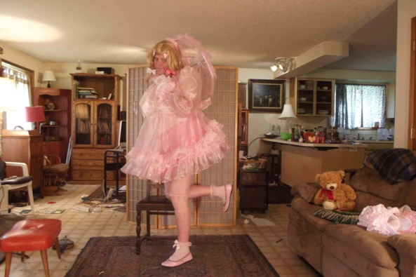My Gossamer Sheer and  Pink Dress - you would feel sissy in this too!, sissy,crossdress,, Feminization,Dolled Up,Sissy Fashion