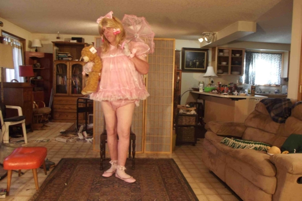 its Pink, its sheer and its baby - This is a Lacy Be'be dress, sissy,crossdress,, Adult Babies,Feminization,Dolled Up,Sissy Fashion