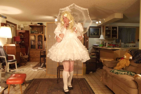 my Barbara Tam White Party Dress - White, at night, out of sight, feels right , sissy,crossdress,party dress,, Feminization,Dolled Up,Sissy Fashion