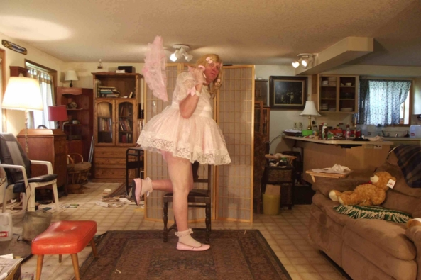 New and frilly Embroidered Dress - a Barbara Tam Embroidered Pink Dress, sissy,crossdress,, Feminization,Sissy Fashion,Dolled Up