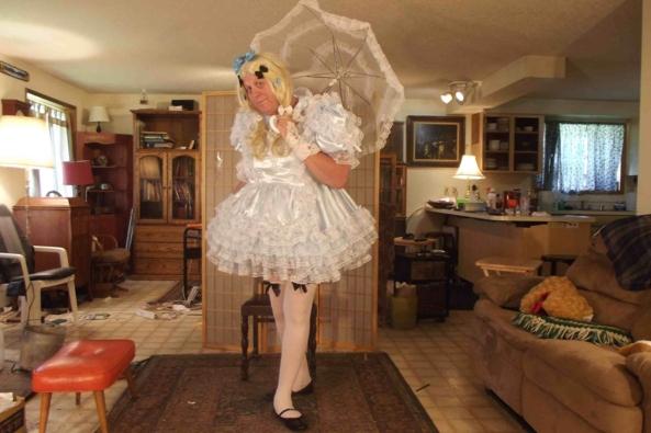 Blue Satin - I adore playing dress-up.  , sissy,crossdress,satin,, Feminization,Dolled Up,Sissy Fashion