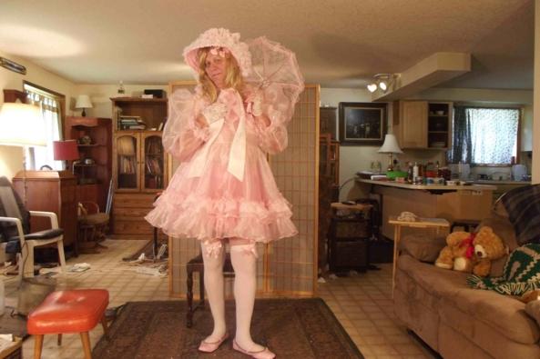 Sheer delight - my sheer froufrou dress , sissy,crossdress,frou-frou,, Feminization,Dolled Up,Sissy Fashion