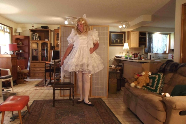 Knickers - my white party dress with Victorian/Edwardian cotton knickers, sissy,crossdress,historical,, Feminization,Dolled Up,Sissy Fashion