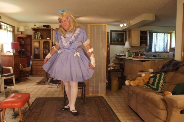 my Swishy Dress -  I call this my swishy dress, not because I am swishy, which I  am, but because of the swishing noise it makes when I move, sissy,crossdress,, Feminization,Sissy Fashion