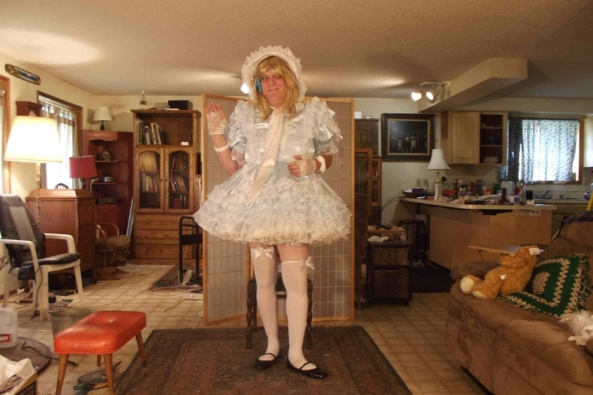 Blue Satin and plenty of pettis - I decided to doll up this morning.  Note:  rather then a link to my channel, I changed sours to this video.  , sissy,crossdress,, Feminization,Dolled Up,Sissy Fashion
