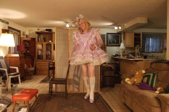 My most prissy Lavender dress., sissy,crossdress,, Feminization,Sissy Fashion,Dolled Up