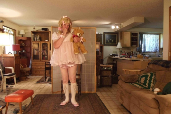 just playing with teddy - my little pink baby dress, sissy,crossdress, Feminization,Adult Babies,Sissy Fashion