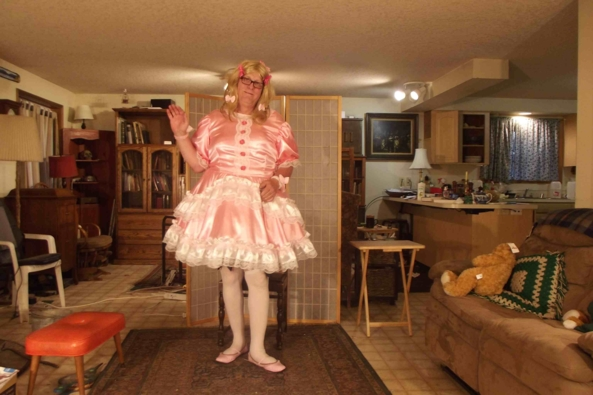 My Edwardian, below stairs dress -  pretty pink dress, sissy,crossdress,, Feminization,Sissy Fashion