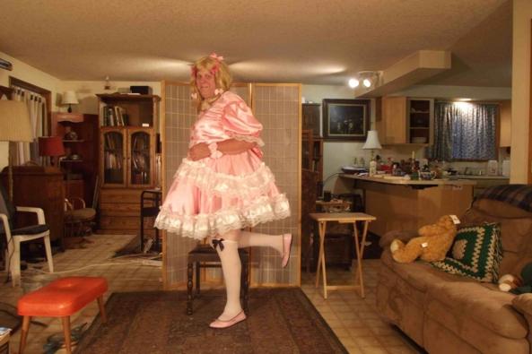 My Edwardian, below stairs dress -  pretty pink dress, sissy,crossdress,, Feminization,Sissy Fashion