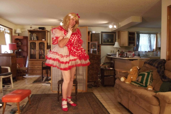 my prissy polkadot red dress - I feel so we'll SISSY when I really dress up, sissy,crossdress,, Feminization,Sissy Fashion,Dolled Up