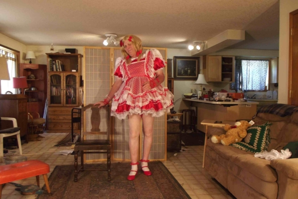 A cherry on..top? - my  favorite festive red dress.  Does this make me look fat?, sissy,crossdress,, Feminization,Holiday,Dolled Up,Sissy Fashion