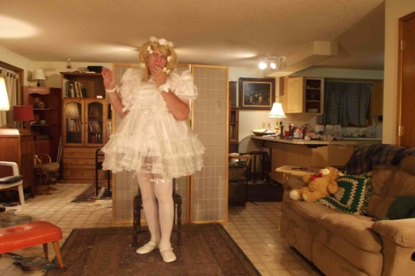 Another night in White - this dress is fashionable and comfortable, sissy,crossdress, Feminization,Dolled Up,Sissy Fashion