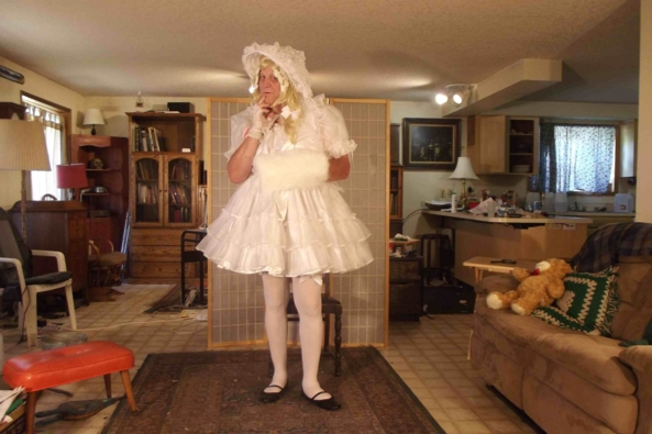 Another White Dress.. - my 3rd (4th?)  whit dress.  Silly me,  I can't count, sissy,crossdress, Feminization,Dolled Up,Sissy Fashion