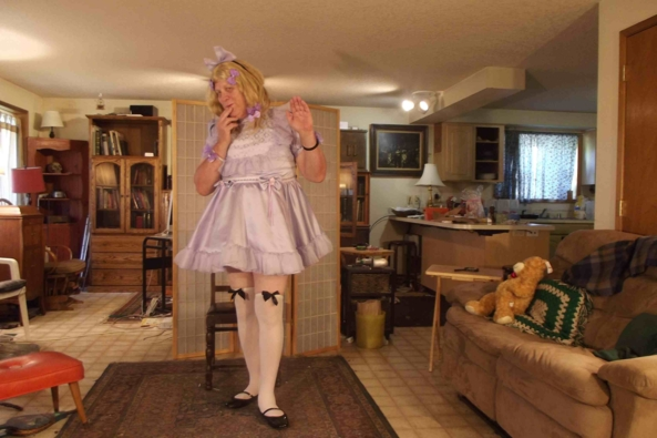 My very Little Girl in Lavender Look - Hope you like it., sissy,crossdress,, Feminization,Dolled Up,Sissy Fashion
