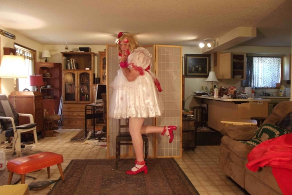 Xmas in July - me in a Little girl Christmas Dress, sissy,crossdress,holiday,, Adult Babies,Feminization,Holiday,Dolled Up,Sissy Fashion
