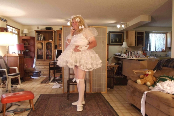 Communion(ing) with (my) Nature - a tissue sheer chiffon petticoat under a totally sheer 1950s style Communion Dress., sissy,crossdress,, Feminization,Wedding,Holiday,Dolled Up
