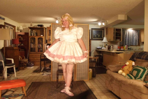 A Simple Satin white frock, sissy,crossdress,, Feminization,Dolled Up,Sissy Fashion