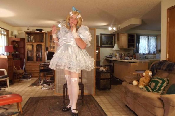 Blue Satin and frilly, sissy,crossdress,, Feminization,Dolled Up,Sissy Fashion