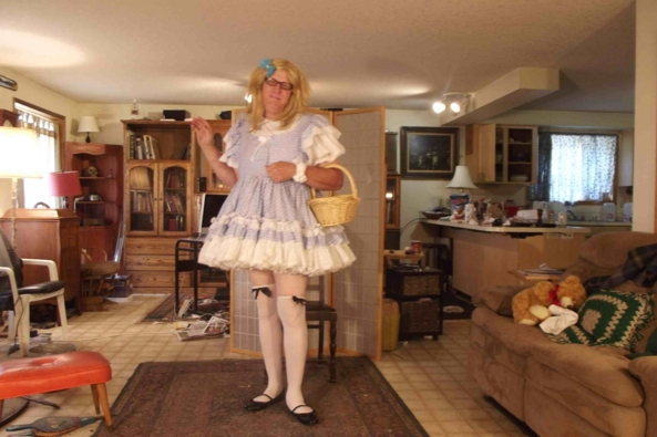 Dressed for a walk to Grandma's House - Hope I don't meet any wolves, sissy,crossdress,, Feminization,Sissy Fashion