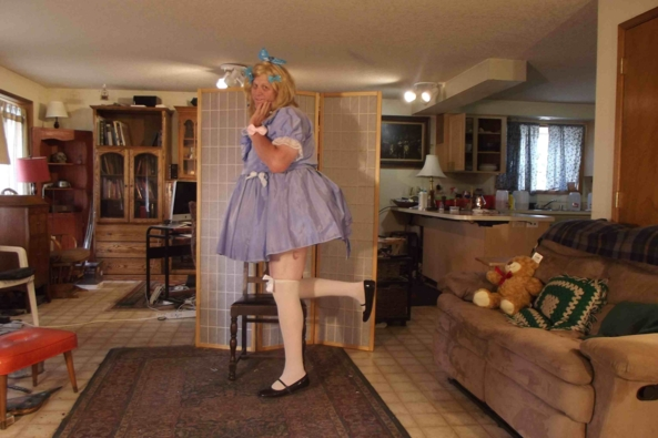 Just one this time - my swishy butterfly dress, sissy,crossdress,, Feminization,Dolled Up,Sissy Fashion