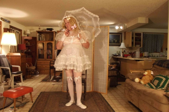 A look back in time - a sheer Communion dress  sans  slip, sissy,crossdress, Feminization,Dolled Up,Holiday,Sissy Fashion,Wedding