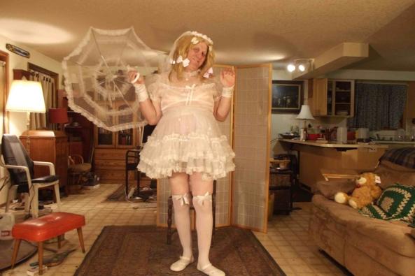 A look back in time - a sheer Communion dress  sans  slip, sissy,crossdress, Feminization,Dolled Up,Holiday,Sissy Fashion,Wedding