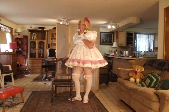 Day...in White Satin - one of my big...little girl....dresses, sissy,crossdress, Feminization,Dolled Up,Sissy Fashion