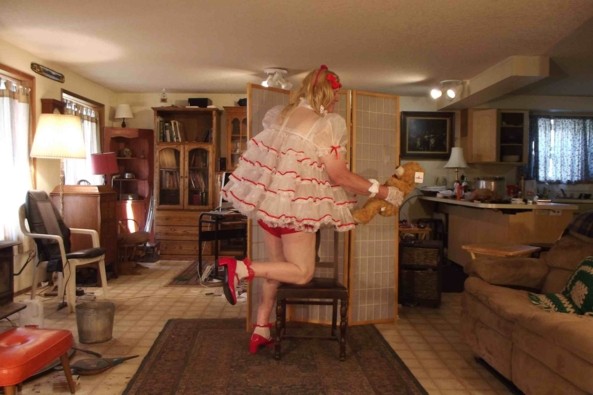 My fav dress-up baby look - actually a baby Christmas outfit, sissy,crossdress,, Adult Babies,Feminization,Holiday,Sissy Fashion
