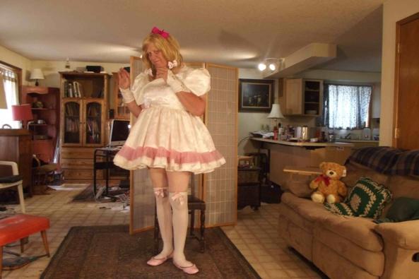 Day...in White Satin - one of my big...little girl....dresses, sissy,crossdress, Feminization,Dolled Up,Sissy Fashion