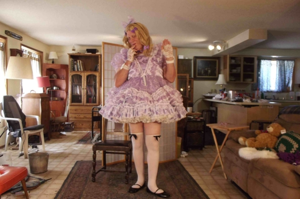 my most frilly lavender dress, sissy,crossdress, Feminization,Dolled Up,Sissy Fashion