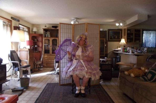 a parasol just adds... something.... - my fav  prissy lavender dress, sissy,crossdress, Feminization,Dolled Up,Holiday,Sissy Fashion